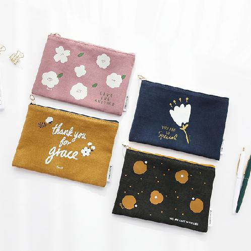 Korea's trendy and luxury GRACEBELL flower pouch made from 100% cotton